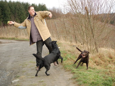 Patrick Krämer mit seinen Hunden